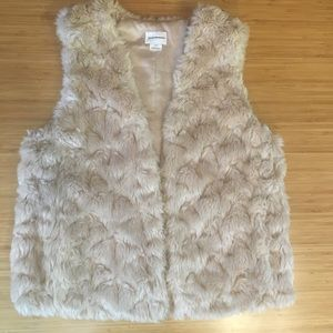 Club Monaco Beige Faux Fur Vest with Pockets  Sz L